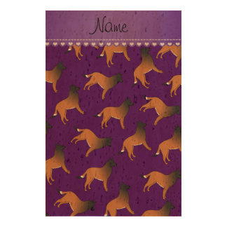 Personalized name purple belgian tervuren dogs cork fabric