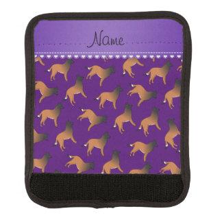 Personalized name purple belgian tervuren dogs handle wrap
