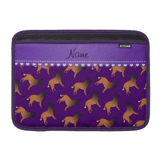 Personalized name purple belgian tervuren dogs MacBook air sleeves
