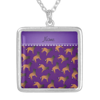 Personalized name purple belgian tervuren dogs square pendant necklace