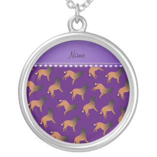 Personalized name purple belgian tervuren dogs round pendant necklace
