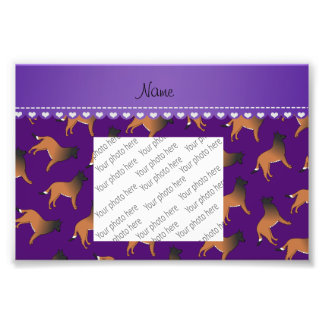 Personalized name purple belgian tervuren dogs photo print