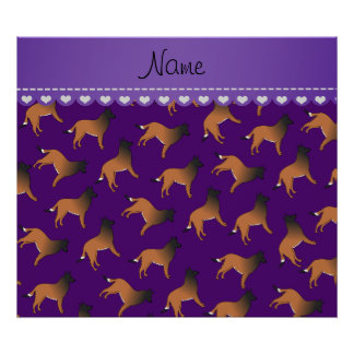 Personalized name purple belgian tervuren dogs poster