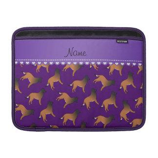 Personalized name purple belgian tervuren dogs sleeves for MacBook air