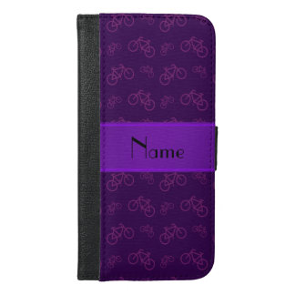 Personalized name purple bicycles iPhone 6/6s plus wallet case