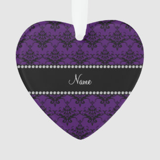 Personalized name Purple black damask