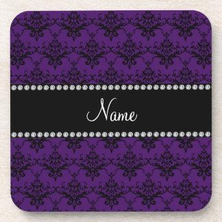 Personalized name Purple black damask Coaster