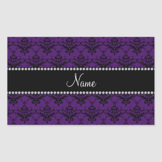 Personalized name Purple black damask Rectangle Stickers