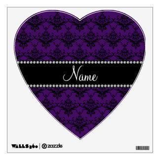 Personalized name Purple black damask Room Sticker
