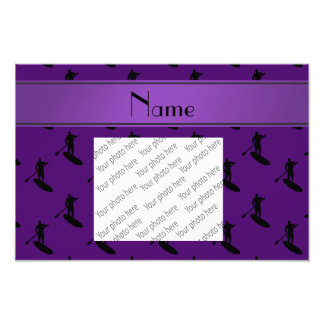Personalized name purple black paddleboarding photo print
