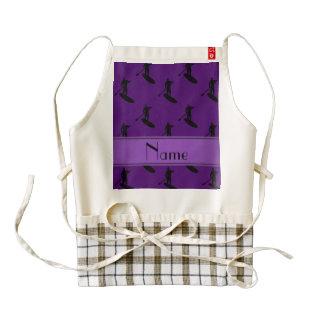 Personalized name purple black paddleboarding zazzle HEART apron