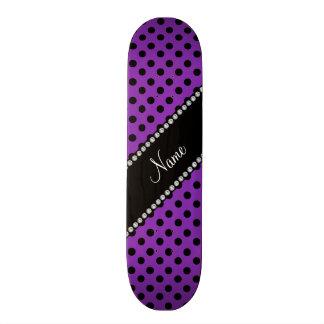 Personalized name purple black polka dots skate board deck