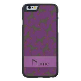 Personalized name purple black tan coonhounds carved® maple iPhone 6 slim case