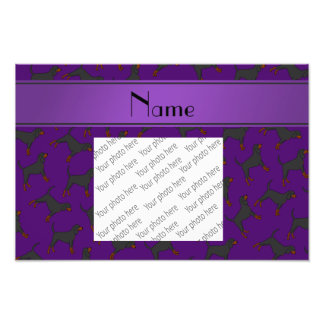 Personalized name purple black tan coonhounds photo print