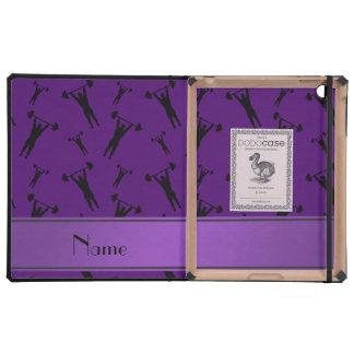 Personalized name purple black weightlifting iPad folio case