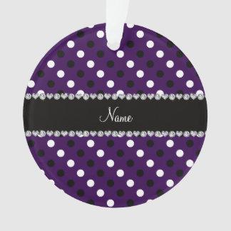 Personalized name purple black white polka dots