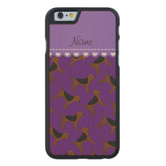 Personalized name purple bloodhound dogs carved® maple iPhone 6 case