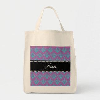 Personalized name Purple blue damask Bag