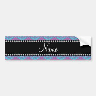 Personalized name Purple blue damask Car Bumper Sticker