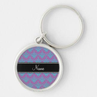 Personalized name purple blue damask keychains