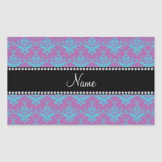 Personalized name Purple blue damask Stickers
