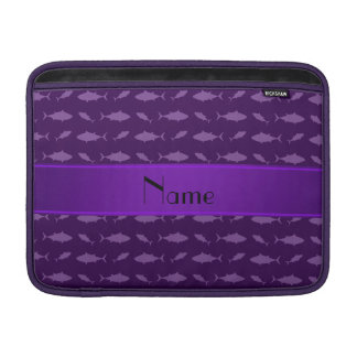 Personalized name purple bluefin tuna pattern sleeves for MacBook air