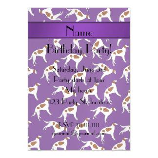 Personalized name purple borzoi dog pattern magnetic invitations