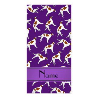 Personalized name purple borzoi dog pattern photo card