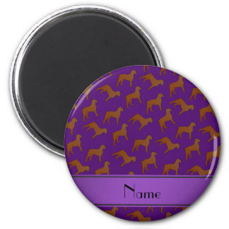 Personalized name purple Bouvier des Flandres dogs 2 Inch Round Magnet