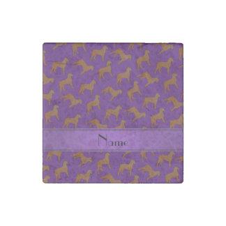 Personalized name purple Bouvier des Flandres dogs Stone Magnet