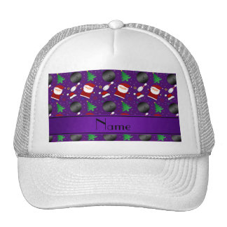 Personalized name purple bowling christmas pattern trucker hat