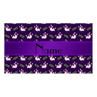 Personalized name purple bowling pattern business card template