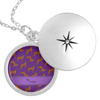 Personalized name purple boxer dog pattern round locket necklace