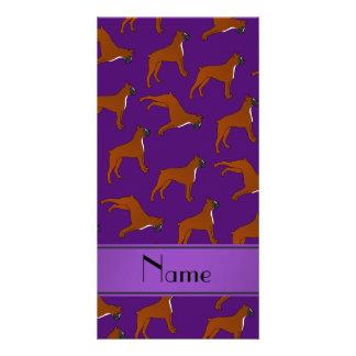Personalized name purple boxer dog pattern photo card