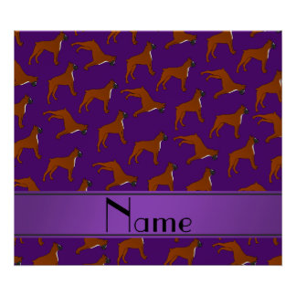 Personalized name purple boxer dog pattern poster