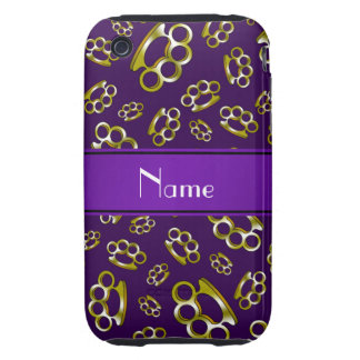Personalized name purple brass knuckles iPhone 3 tough case