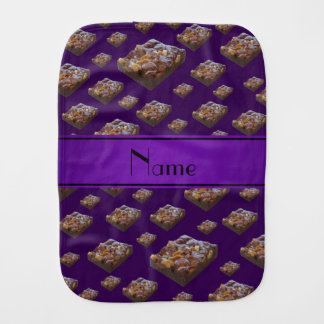 Personalized name purple brownies baby burp cloth