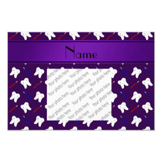 Personalized name purple brushes and tooth pattern photographic print