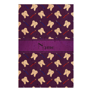 Personalized name purple brushes and tooth pattern queork photo prints