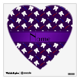 Personalized name purple brushes and tooth pattern room graphic