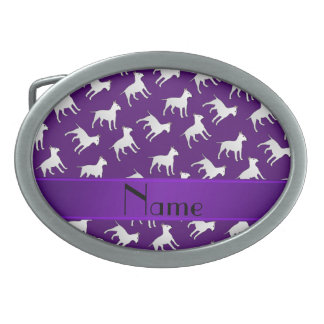 Personalized name purple bull terrier dogs belt buckles