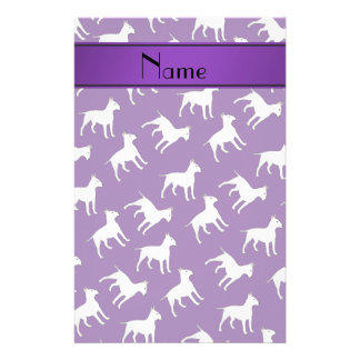 Personalized name purple bull terrier dogs stationery