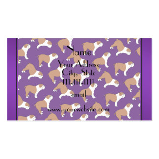 Personalized name purple Bulldog Double-Sided Standard Business Cards (Pack Of 100)