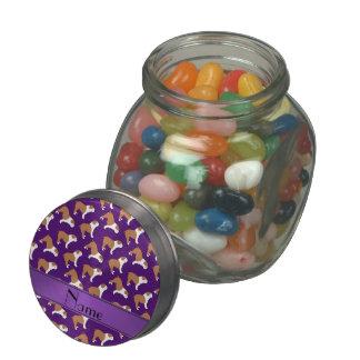 Personalized name purple Bulldog Glass Candy Jars