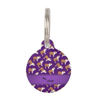 Personalized name purple Bulldog Pet Nametags
