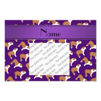 Personalized name purple Bulldog Photo Print