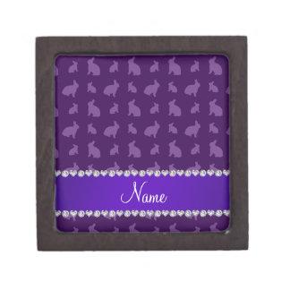 Personalized name purple bunnies keepsake box