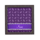 Personalized name purple bunnies premium jewelry box