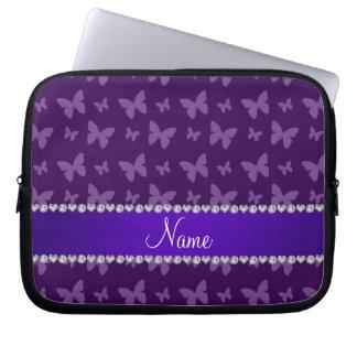 Personalized name purple butterflies laptop sleeve