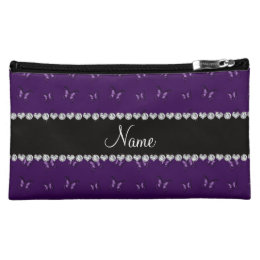 Personalized name purple butterfly pattern cosmetic bag